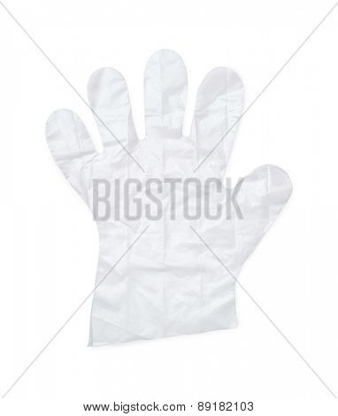 Disposable plastic glove isolated on white