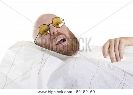 man at work gets crazy, too much work isolated on white background