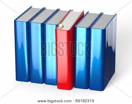 Book Selecting From Bookshelf Blue Row One Red Choosing