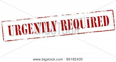 Stamp with text urgently required inside,vector illustration