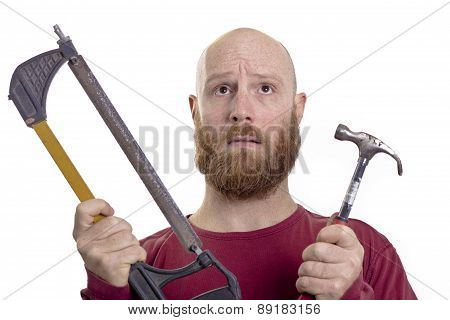 carpenter choose hammer or saw isolated on white background