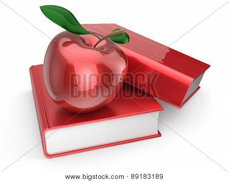 Books Apple Red Textbook Education Studying Wisdom Icon