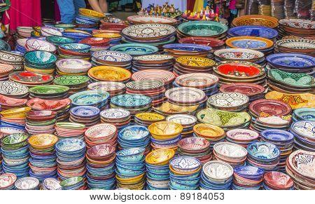 Display of ceramic craft in Marrakesh, Morocco