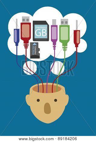 Usb Plug And Memory Flash Card, Vector