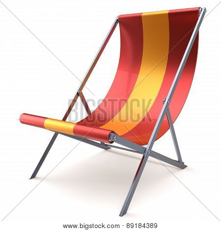 Beach Chair Chaise Longue Red Yellow Nobody Relaxation