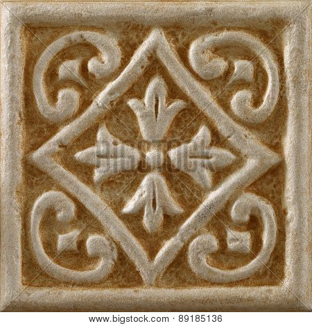 decorated background tiles travertine flower motifs, isolated