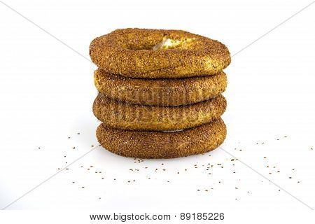 Turkish traditional breakfast bagel simit isolated on white background