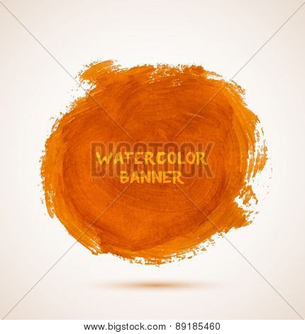 Abstract circle orange watercolor hand-drawn banner