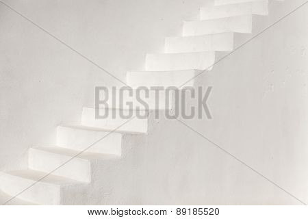White Stairs On A Church Wall, Santorini