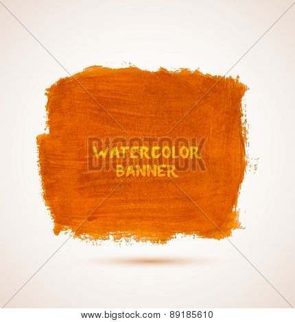 Abstract square orange watercolor hand-drawn banner