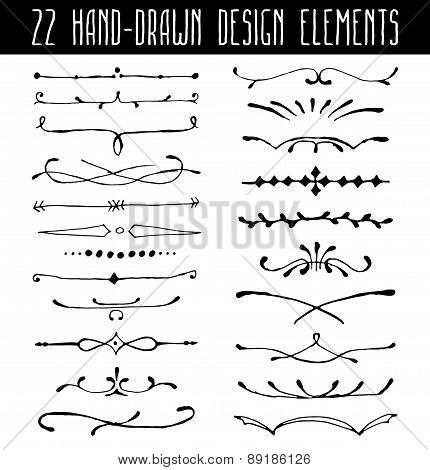 Set of hand-drawn line border dividers and design element