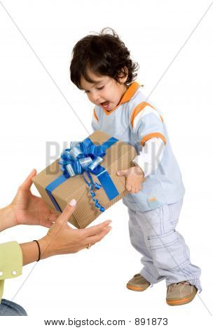 Child Receiving A Gift