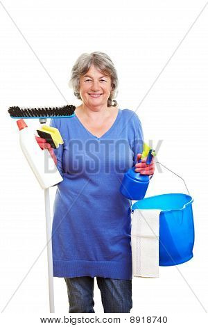 Retired Woman With Cleaning Supplies