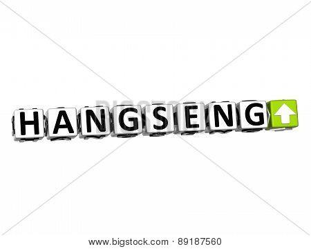 3D Hangseng Stock Market Block Text On White Background