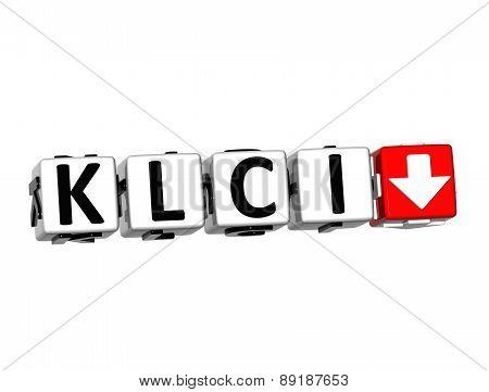 3D Klci Stock Market Block Text On White Background