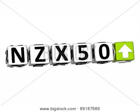 3D Nzx50 Stock Market Block Text On White Background