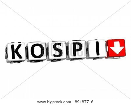 3D Kospi Stock Market Block Text On White Background