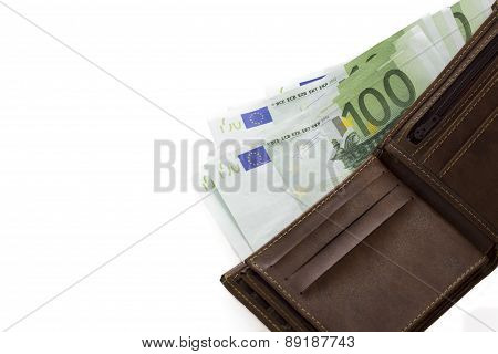 euro banknotes in wallet isolated on white background