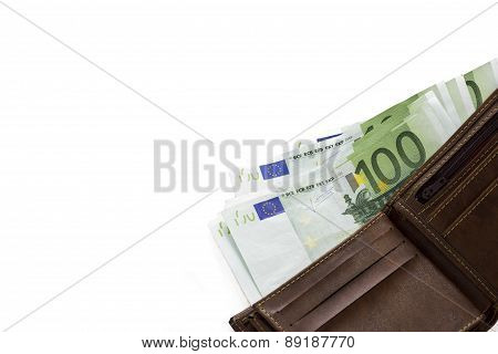 euro bank notes in wallet isolated on white background