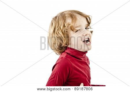 eye blink red hair toddler isolated on white background