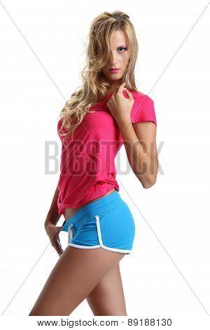 blond model in studio dressed Fitness