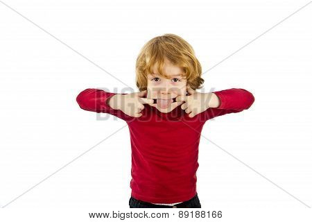 red hair child pulling face isolated on white background