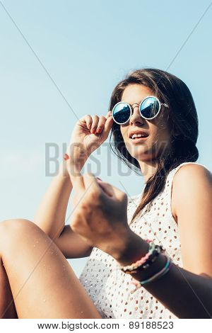 Woman S Have Fun And Good Mood Outdoor In Summer