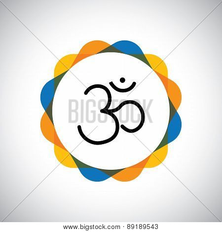 Aum Or Om Hinduism Vector Icon For World Peace.