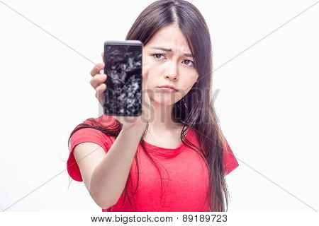 Chinese Woman Woth Cracked Cell Phone