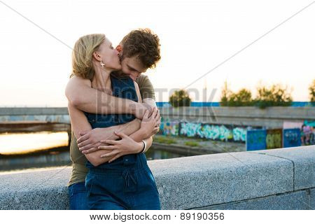 Pretty Couple Embrace Outdoor.