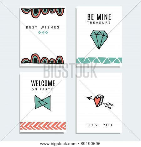 Set Of Wedding And Birthday Cards, Hipster Design, Vector  Background