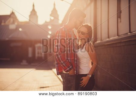 Gentle Portrait Of Couple At Sunset