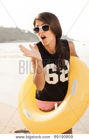Woman Have Fun And Good Mood Outdoor In Summer