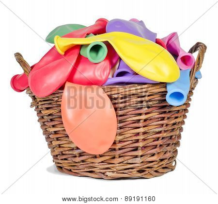 Colorful Balloons  In A Wicker Basket