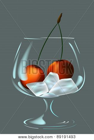 Wineglass, Ice And Cherry