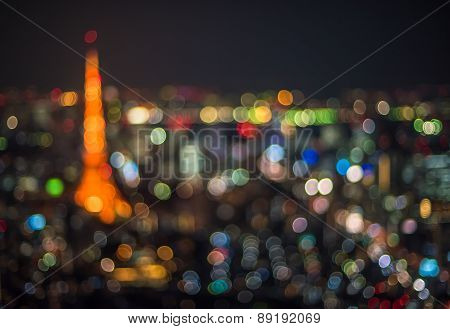 Tokyo Night Scene, Defocused Background