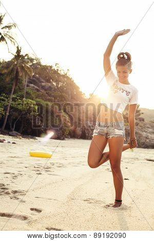 Happy Stylish Sexy Woman Posing In Summer On Beach
