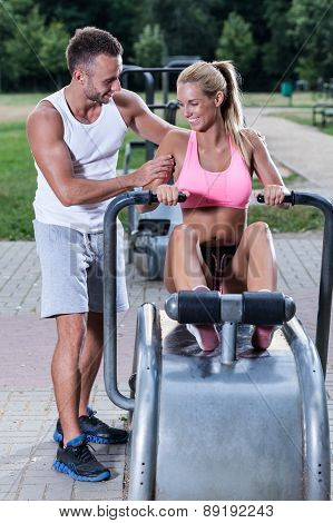 Women Excercise With Sport Instructor