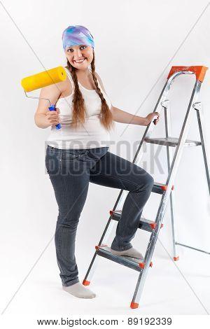 Pregnant Woman And Repair, Studio
