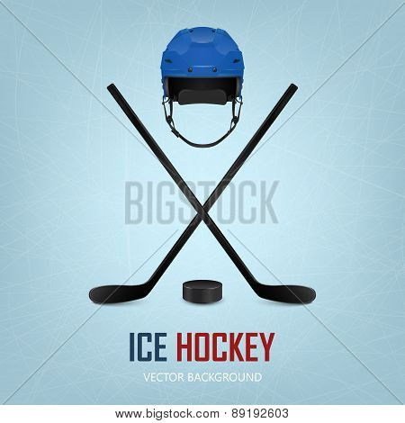 Ice hockey helmet, puck and sticks. Vector background.