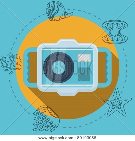 Flat color vector illustration for snorkeling