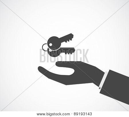 hand with keys black icon design