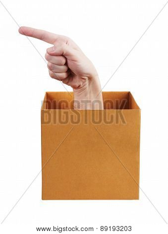 Hand With Index Finger Protruding From The Box
