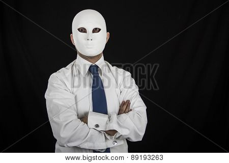 businessman in suit wearing mask, business power isolated on black background
