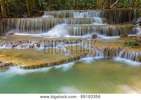 Blue stream water falls, located in Western of Thailand