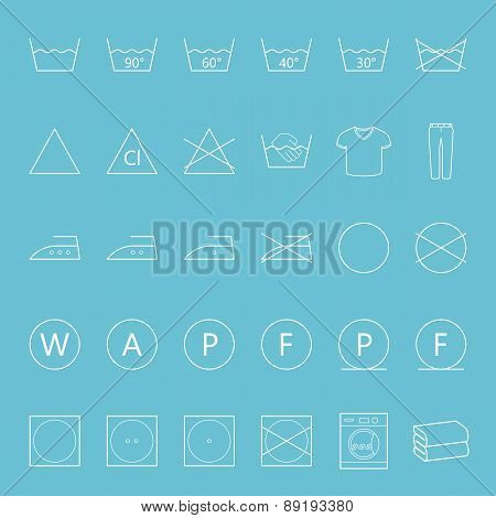Washing And Ironing Clothes Thin Lines Icon Set