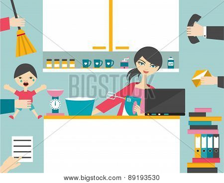 Busy Multitask Woman.