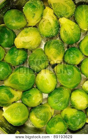 Brussels Sprouts in a Cooking Pot, Detail, vertical