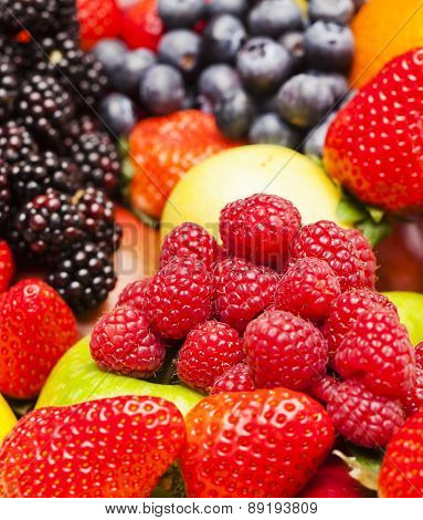 Raspberries Among Mixed Fruit