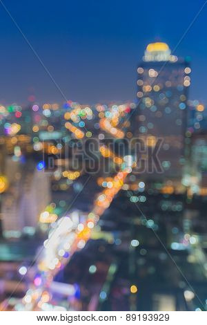 Out of focus, city bokeh lights night view